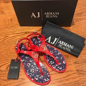 681856c36f2178 Armani Jeans Shoes - Armani Jeans Logo Jelly Thong Sandals